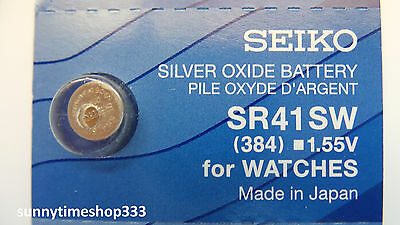 SR41SW/384 Seiko Watch Battery, Made in Japan, Silver Oxide, 1.55V