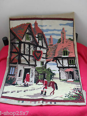 Large Pearsall completed cross-stitch needlepoint tapestry English pub 49cmx37cm