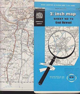 "1955 2.5"" Ordnance Survey Map - 'Great Harwood' (inc. Whalley & Padiham etc.)"
