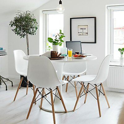 4 X Dining Chairs Charles Eiffel Eames Lounge Plastic Retro DSW Home Dining Room
