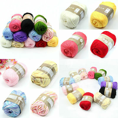 1 Skein 50g Natural Silk Cotton Baby Sweater Soft Yarn Knitting Hot Charming