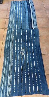 """One-of-a-Kind Long Shawl, 27""""x100"""", Made From Vintage African Indigo Textiles"""