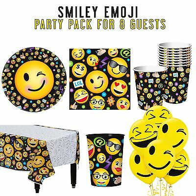 Party Supplies Girls Birthday Decorations Emoji Smile LOL Party Pack 8 Guests