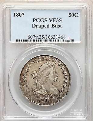 1807 Draped Bust Silver Half Dollar PCGS VF35 Type Coin Overton
