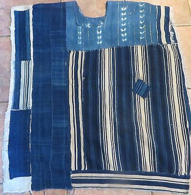 """One-of-a-Kind Poncho, Made of Vintage Indigo Textiles from Mail/31""""x64"""""""