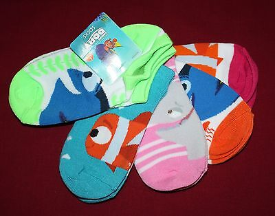 Disney Pixar Finding Dory Girls Socks 5 Pairs Ankle Size 6-8 Fits Shoe Size 11-4