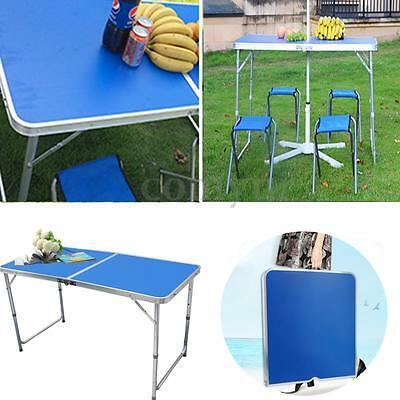 4FT Adjustable Folding Table Camping BBQ Picnic Party Garden Portable Outdoor UK