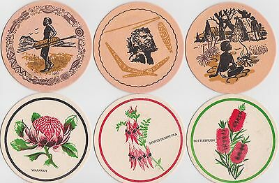 Collectable beer coasters x 6 from 1970's - Aboriginal theme / designs / artwork