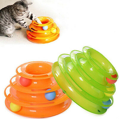 Cat Kitty Interactive Pet Toy Amusement Plate Trilaminar Crazy Ball Disk Tower