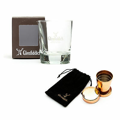 Glenfiddich Whiskey Glass + Dram Cup Tumbler Triangle Official Branded New Boxed