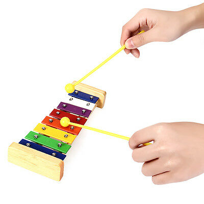 8 Note Colourful Marimba Xylophone with 2 Hammers Music Percussion Gift Toy Kids