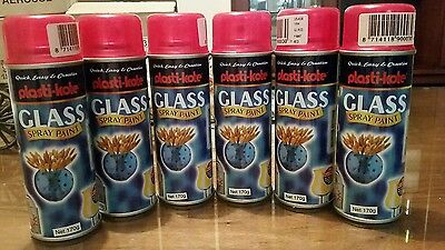 6 X Plasti-Cote Red Glass Spray Paint.  Aerosols. Tail Light. Craft