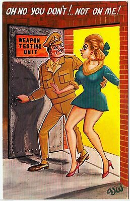 "WEAPON TESTING UNIT - Pretty Girl Says ""Not On Me!"" -  c1960s era Comic postcard"