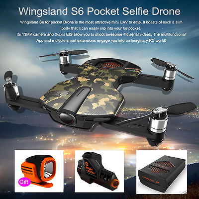 Wingsland S6 Pocket Drone RC Quacopter 4K HD Camera with 2pcs battery light ....