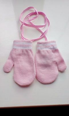 beautiful baby girls pink mittens /gloves size 6-18+months brand new