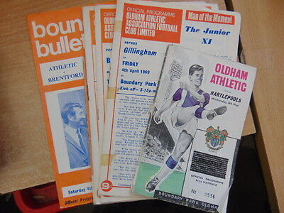 Bundle 7 x  Oldham Athletic FC Home Programmes Listed 1960s