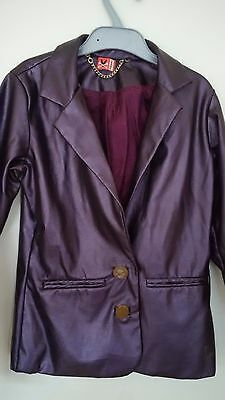 'No Added Sugar' Girls Faux Leather Jacket Purple (8-9yrs)