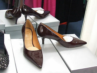 Cecille BNIB UK 4 Exquisite Kitten Heels Patent Maroon Leather Court Shoes EU37