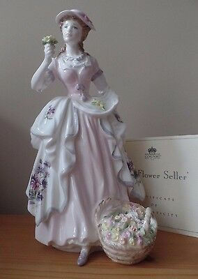 COALPORT FIGURINE - THE FLOWER SELLER - CRIES OF LONDON - Ltd Ed With Cert - Ex