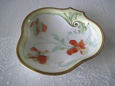 "IMPERIAL PSL EMPIRE HANDPAINTED POPPY DISH-AUSTRIA-9""x8""-GORGEOUS-EUC-NUMBERED"