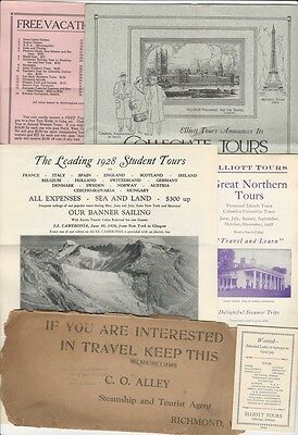 Group of 1928 Travel Agency European College Tour Packages Folders & Brochures