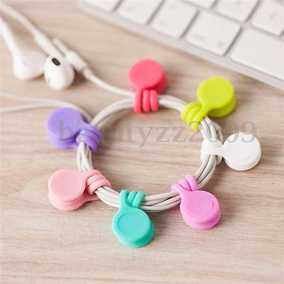 3 pcs Silicone Magnet Coil Earphone Cable Winder Headset Type Bobbin Winder Hubs