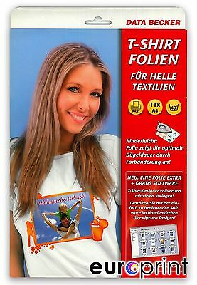 Data Becker Original T-Shirt-Folien für helle Textilien 11 Blatt