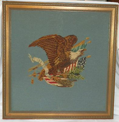 Vintage Framed American Eagle Needlepoint Art