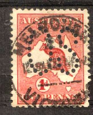 Australia:1913:1d Red,(Die.I),Punctured with'OS'.Used.C.£8.50p+