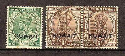 Kuwait:1929:1/2a Green & Pair of 1a Chocolate,Used,C.£8+