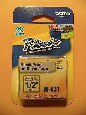 "NEW Brother M931 P-Touch Label Tape 1/2"" Black on Silver (12mm) Ptouch M-931"