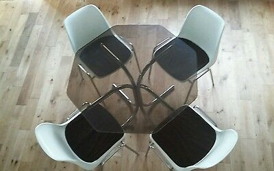 Superb Vintage Mid Century Modern Centa Dining Table & Chairs Chrome Glass