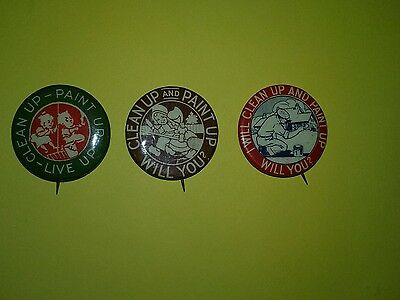 (3) Ca.1900's Ehrman Mfg Co. Clean Up & Paint Up Will You? Celluloid  Pinbacks