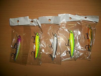 lotto 5 minnow esche artificiali  pesca  tipo rapala  70 mm  4 gr.