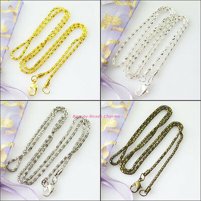 3Strands Necklaces Chain With Lobster Clasps Gold Dull Silver Bronze Plated 50cm