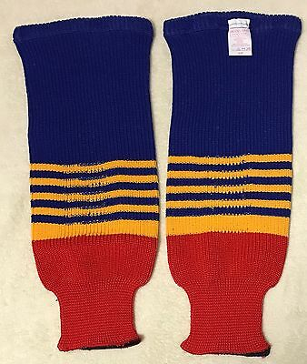 """Ice Hockey Socks Knit - Blue Yellow Red - Canadian Made - Size Junior 19"""" - New"""