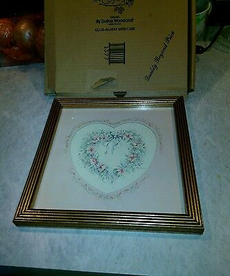 Vintage NOS HOME INTERIORS HEART WREATH PICTURE PINK MAT CHERRY AND GOLD FRAME.