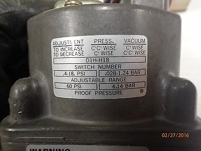 Delaval Barksdale D1H-H18 Pressure or Vacuum Actuated Switch - (New)