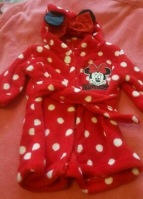 Disney MinnieMouse Dressing Gown, So Soft, 0-3 Months