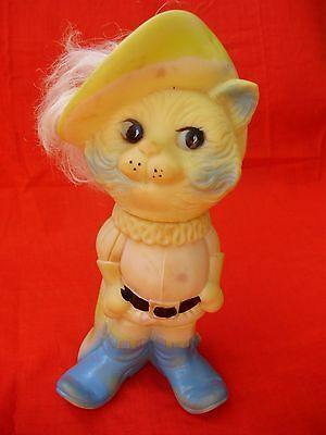 """Vintage Toy Rubber Figurine,doll, Puss In Boots 9""""tall"""