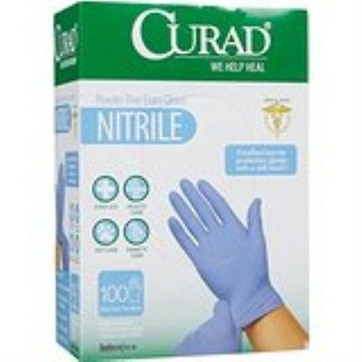 CURAD Powder-Free Nitrile Exam Gloves - One Size Fits Most - 100 ct