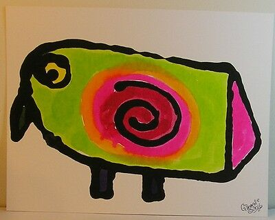 GinaMarie Art® Fantastic Folk Art Funky Bird Original Painting OOAK Outsider