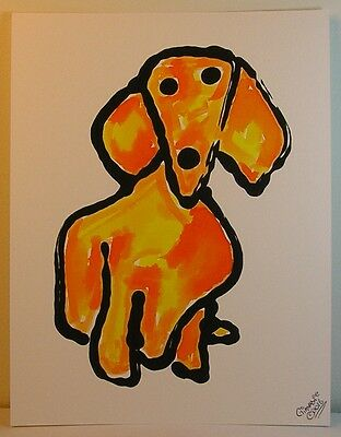 GinaMarie Art® Charming Folk Art Golden Dachsund Dog Original Painting Outsider