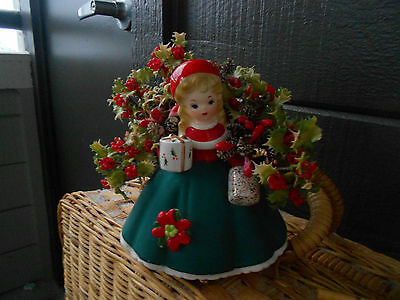 Vintage INARCO Christmas Lady Planter E-1134 Gift Muff Decorations 1989