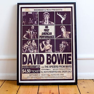 David Bowie 1972 First American Concert Poster Print Three Sizes New Exclusive