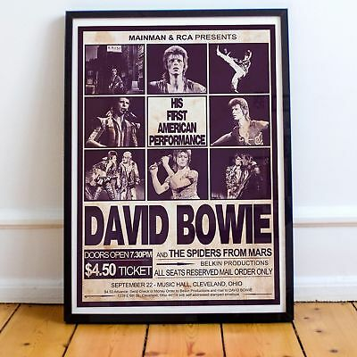 David Bowie 1972 First American Concert Three Print Options or Framed Poster NEW