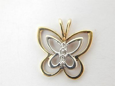 10K Yellow and White Gold Butterfly Charm Pendant w/ Diamond Accent - 1.2 Grams