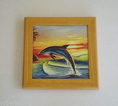 Dolphin Jumping At Dusk Porcelain Wall Art Wall Hanging Nautical Decoration