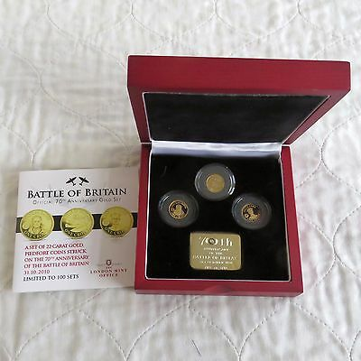 BATTLE OF BRITAIN 2010 TDC 22ct GOLD PROOF PIEDFORT 3 CROWN SET - coa 001