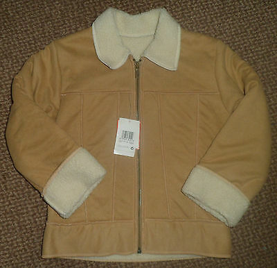 Girls Camel Colour Suede Look Jacket By M&s Age 7 Years Bnwt